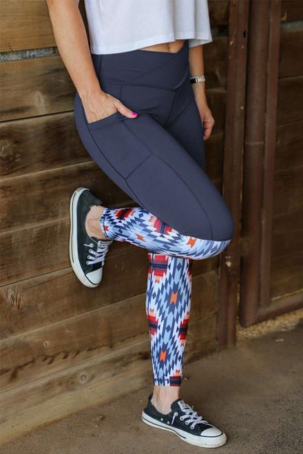 Gray Crossover High Waist Aztec Print Patchwork Yoga Leggings