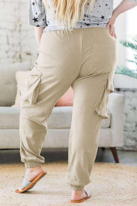 Khaki Elastic Waist Side Pocket Plus Size Jogger Pants