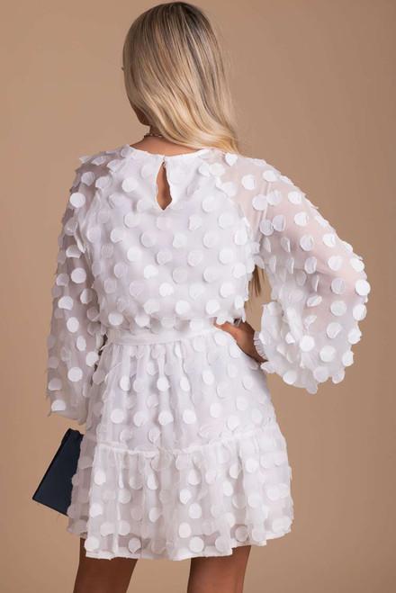 White Textured Dot Bubble Sleeve Tie Waist Mini Dress