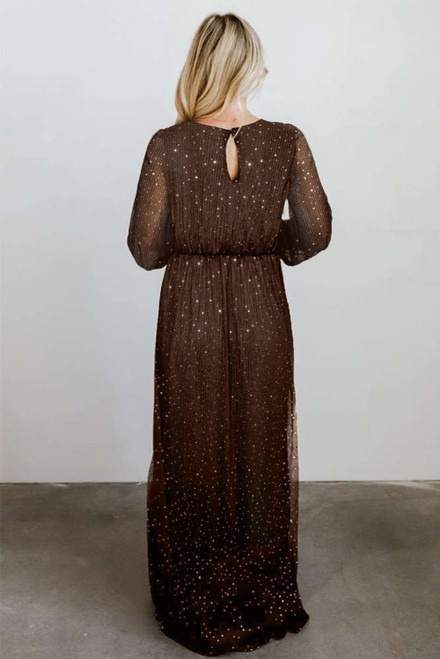 Brown Side Split Rhinestone V Neck Maxi Dress