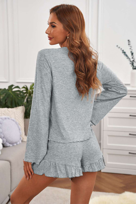 Bell Sleeve Top and Ruffle Shorts Lounge Suit