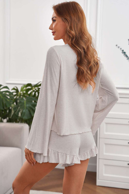Apricot Bell Sleeve Top and Ruffle Shorts Lounge Suit