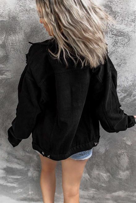 Black Distressed Buttons Chest Pockets Denim Jacket