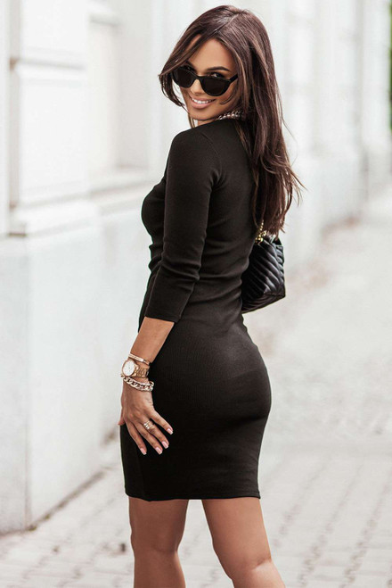 Black Cut-out Long Sleeve Bodycon Mini Dress