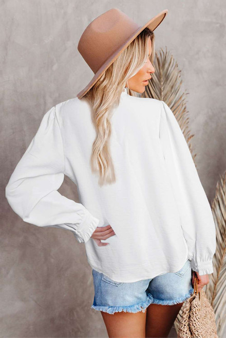 White Lace Patchwork Ruffled Long Sleeve Blouse