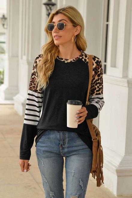 Black Leopard Striped Long Sleeve Top