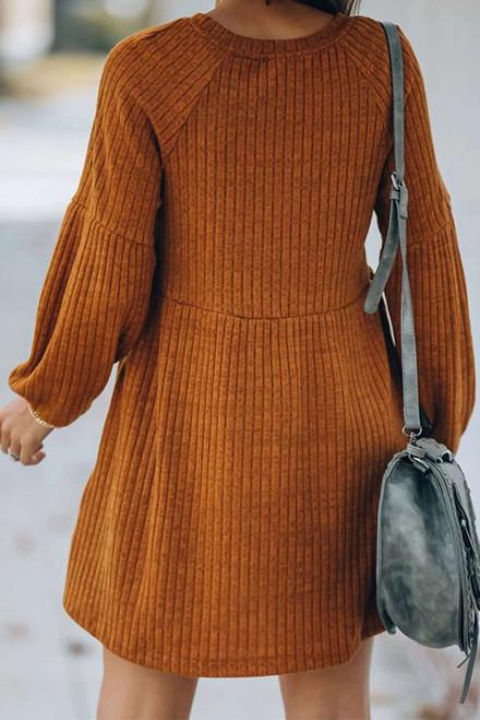 Round Neck Empire Waist Ribbed Knit Dress