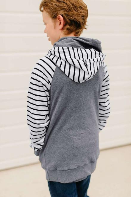 Gray Stripes Splicing Diagonal Zipper Children's Hoodie