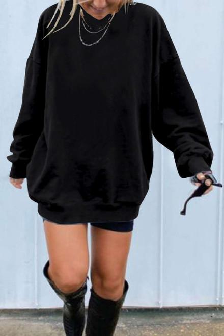 Black Oversized Solid Drop Shoulder Sweatshirt