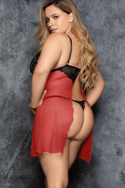 Red Plus Size Sheer Babydoll Lingerie Set