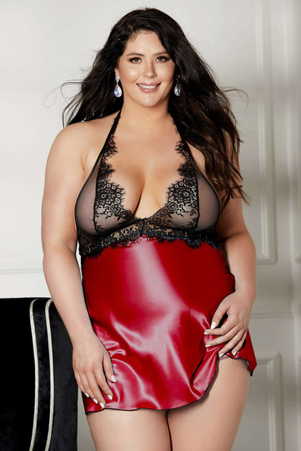 Red Lace Patchwork Halter Neck Backless Plus Size Babydoll