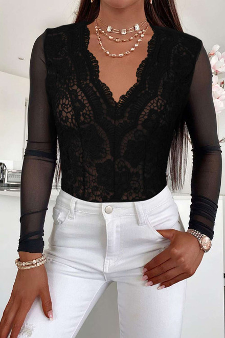 Black Long Sleeve Lace V Neck Mesh Bodysuit