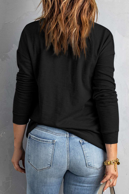 Black Button Front Turn-down Neck Knit Top