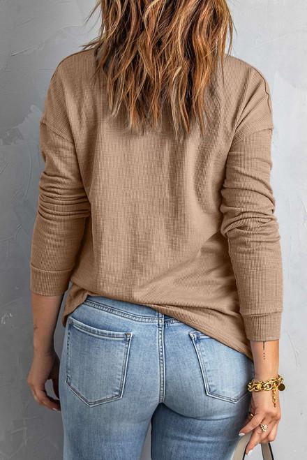 Khaki Button Front Turn-down Neck Knit Top