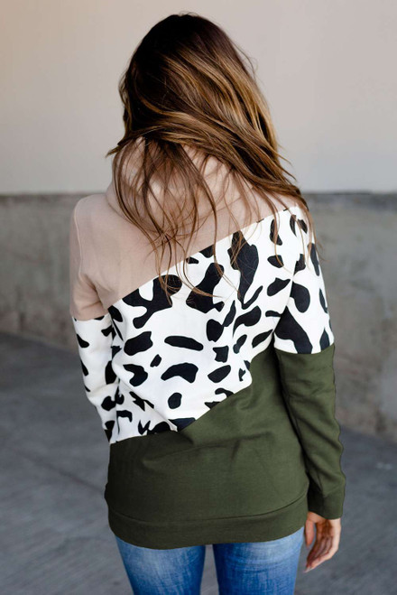 High Neck Cow Print Color Block Hoodie with Pocket