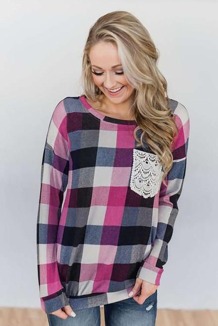 Plaid Print Lace Pocket Long Sleeve Top