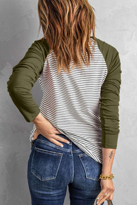 Army Green Raglan Sleeve Splicing Striped Top with Pocket