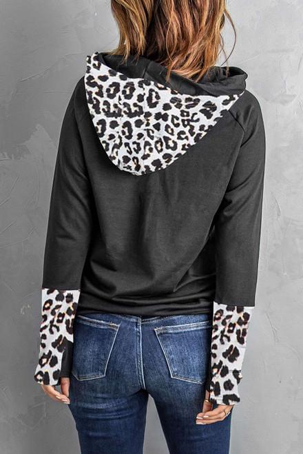Leopard Double Hoods Thumb Hole Hoodie