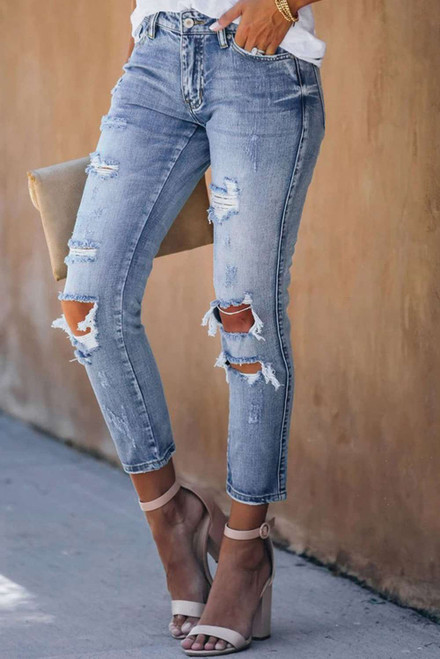 Blue Fading Distressed Holes Crop Jeans