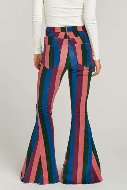 Zip Up Striped Bell Jeans