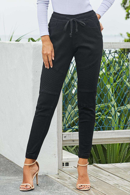 Black Elastic Waistband Drawstring Denim Pants