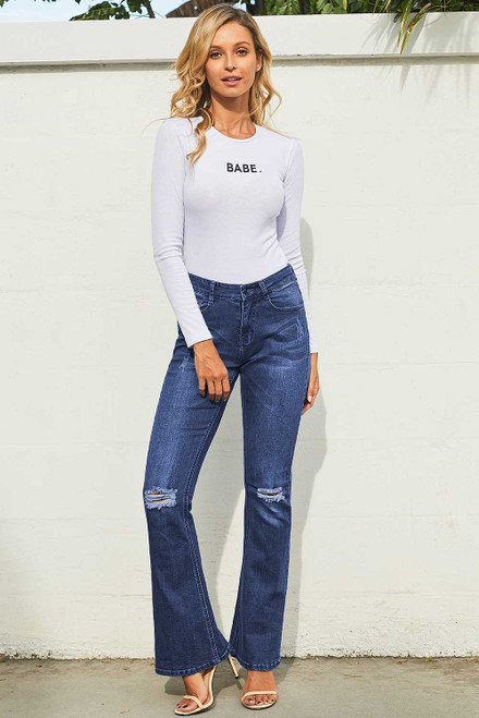 Ripped Knee Detail Blue Flared Jeans