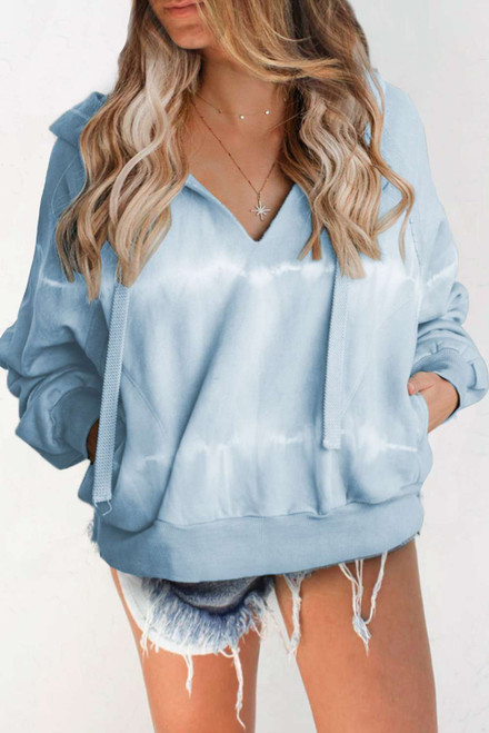 Cotton Pocketed Tie-dye Hoodie For Women