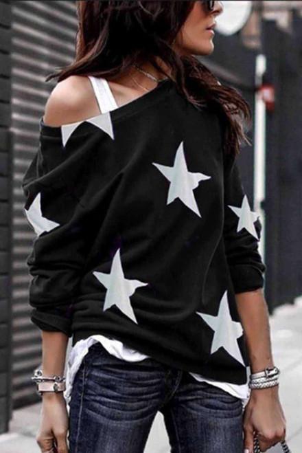 Fashion Five-pointed Star Print Round Neck Sweatshirt