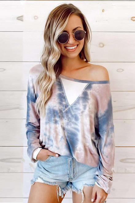 Blue Tie-dye Pullover Sweatshirt
