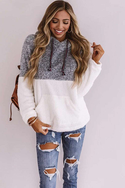 Cute Colorblock Cuddly Hoodie For Women