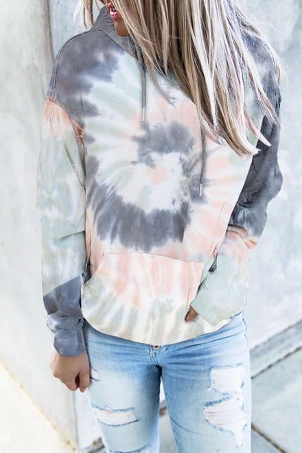 Multicolor Tie-dye Print Pullover Hoodie