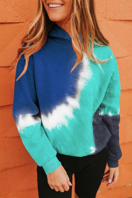 Colorblock Tie-dye Hoodie For Women