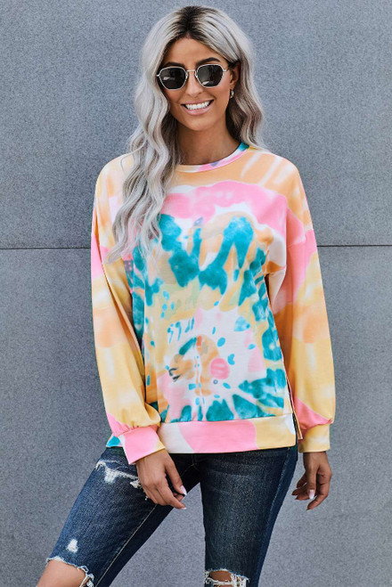 Multi-color Tie Dye Sweatshirt For Women