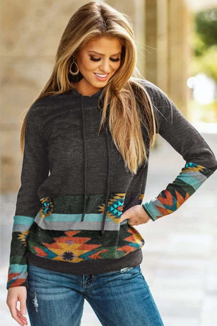 Black Long Sleeves Pullover Hoodie with Aztec Print