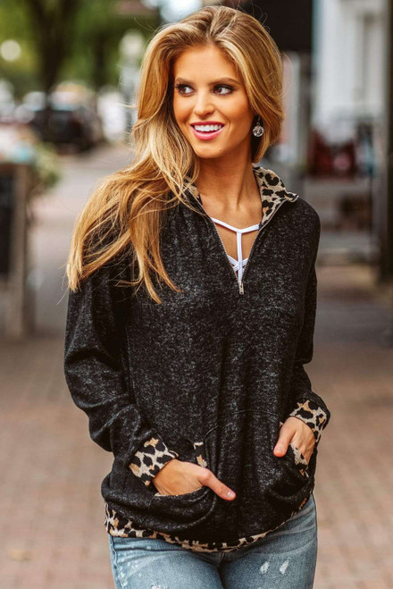 Leopard Detail Zip Neck Pullover