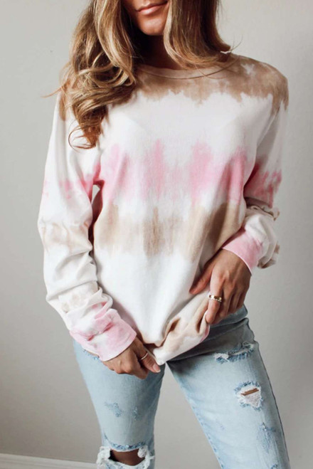 Triple Colors Tie-dye Sweatshirt For Women