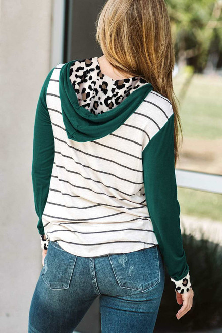Color Block Striped Leopard Print Hoodie For Women