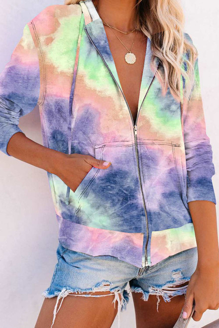 Tie-dye Pocket Zip Up Hoodie For Women