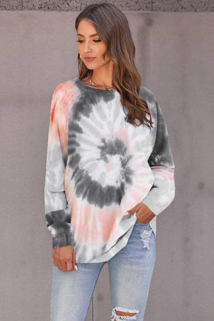 Gray Ombre Tie Dye Loose Leisure Sweatshirt