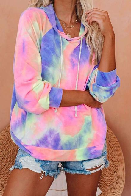 Multicolor Tie-dye Knit Hoodie
