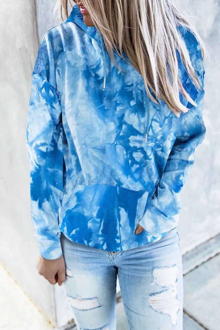Blue Tie-dye Print Pullover Hoodie