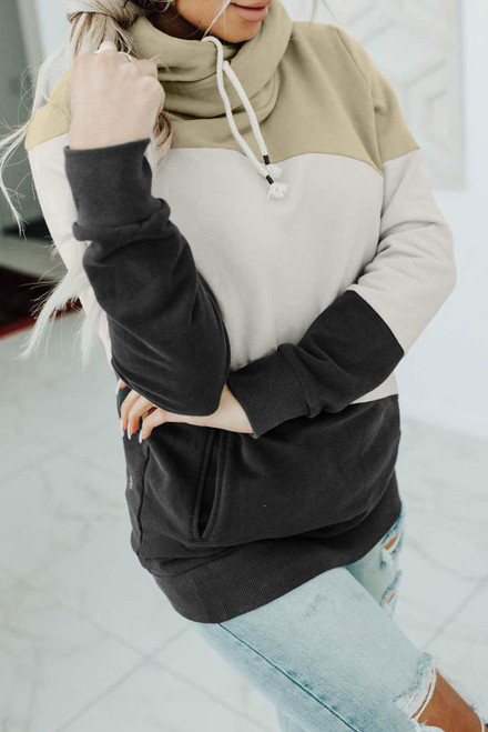 Beige Colorblock Pocketed Hoodie