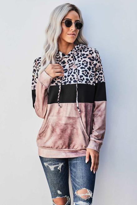 Leopard Tie Dye Colorblock Hoodie