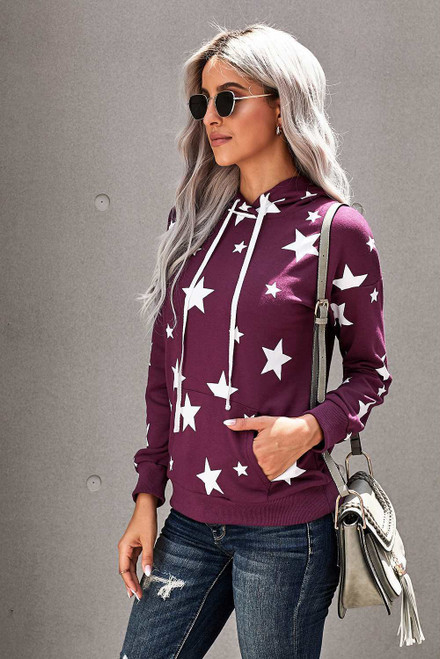 Hooded Cotton Blend Star Sweatshirt For Women