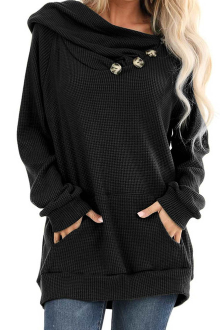 Waffle Knit Hooded Top with Asymmetrical Button Detail