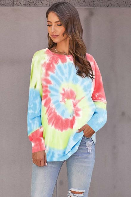 Ombre Tie Dye Loose Leisure Sweatshirt For Women