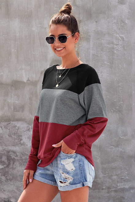 Gray Raglan Sleeve Color Block Pullover Sweatshirt
