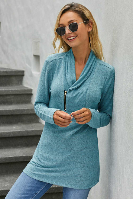 All This Time Zipper Pullover Top
