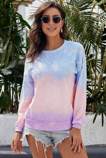 Multicolour Color Block Tie Dye Pullover Sweatshirt