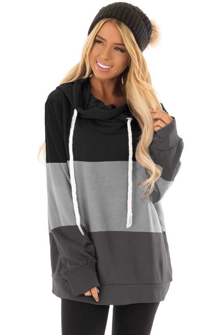 Black Color Block Pullover Hooded Sweatshirt